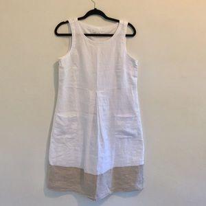 J. Jill Linen midi sleeveless dress pockets Size S